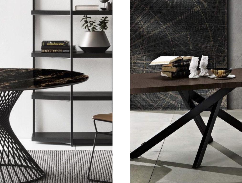 tavoli in legno e in marmo scuro
